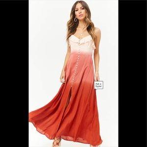 Forever21 Pink & Rust Ombré High Slit Maxi Dress-S